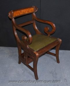 Regency Metamorphic Stuhl Satz Bibliothek Stufen Sessel Mahagoni
