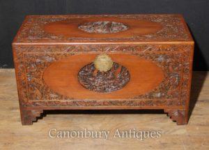 Antike chinesische geschnitzte Kampfer Holztruhe Gepäck Trunk Tisch