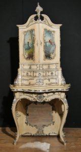 Antique Florentine Italian Painted Cabinet Bureau 1860