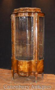 Französisches Reich Antikes Display Curio Kabinett Bijouterie Kingwood Inlay