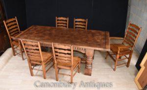 Refektorium Tischleiter Stühle Esszimmer - Bauernhaus Küche Set