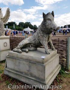 Riesiger Stein Eber auf Sockel-Garten-Statue Schwein