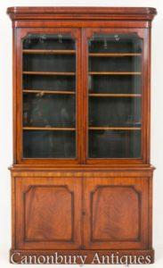 Antiker viktorianischer Bücherschrank Glasschrank Mahagoni 1860