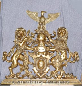 Gilt Wappen Englisch Castle Hand geschnitzt heraldischen