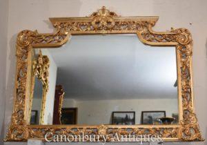 Großer englischer Chippendale Vergoldungs-Umhang-Spiegel