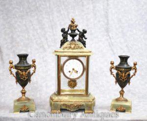 Antike Empire Onyx vergoldet Uhr Set Uhr Cherub Garniture