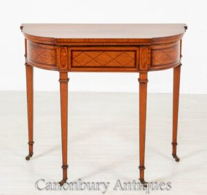 Hepplewhite Card Table - Antike Satinwood-Spieltische 1880